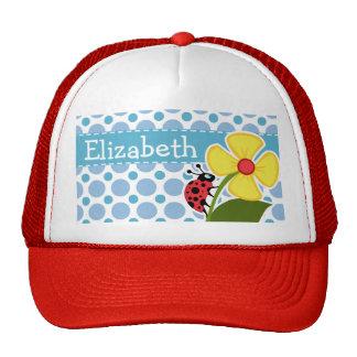 Blue Polka Dots; Ladybug Trucker Hat