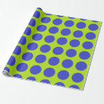 Blue Polka Dots Lime Green Wrapping Paper