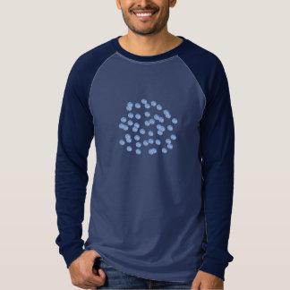 Blue Polka Dots Men's Raglan Long Sleeve T-Shirt