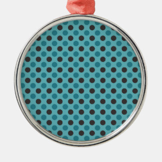 Blue Polka Dots Metal Ornament
