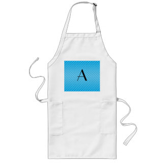 Blue polka dots monogram long apron
