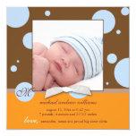 Blue Polka Dots Monogram Baby Boy Photo Birth Personalized Invite