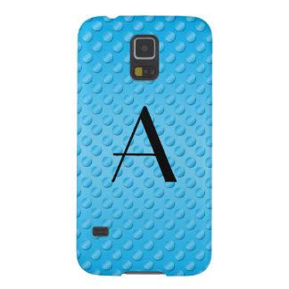 Blue polka dots monogram galaxy s5 cases