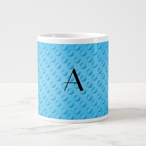Blue polka dots monogram jumbo mugs