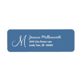 Blue Polka Dots Monogram M or Any Initial A004 Label