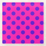 "Blue polka dots on fuchsia glass coaster<br><div class=""desc"">Blue polka dots on fuchsia</div>"
