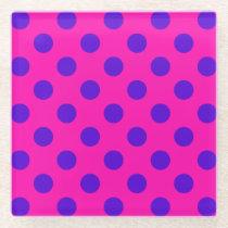 Blue polka dots on fuchsia glass coaster