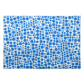 Blue Polka Dots on White Background Cloth Placemat