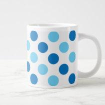 Blue polka dots pattern large coffee mug