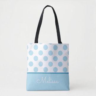 Blue Polka Dots | Personalized Tote Bag