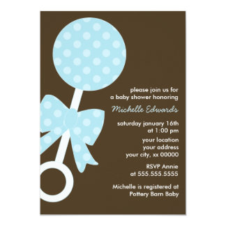 Blue Polka Dots Rattle Baby Shower Card