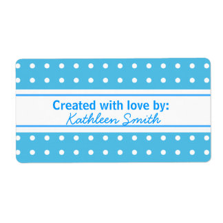 Blue Polka-dots  Recipe/Goodies Label Shipping Label
