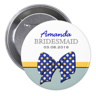 Blue Polka Dots Ribbons and Bows Bridesmaid Button