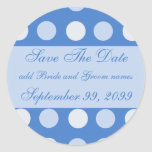 Blue Polka Dots Save The Date Reminders Round Stickers