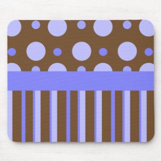 Blue Polka Dots & Stripes Mouse Pad