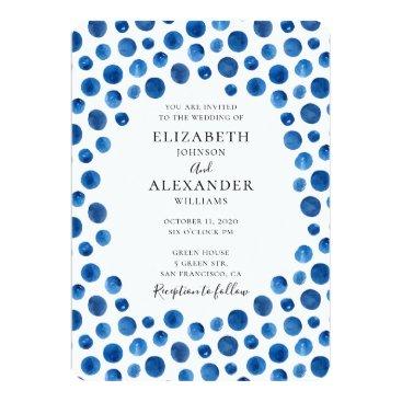 Beach Themed Blue polka dots wedding invitation. Navy invite