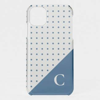 Blue Polka Dots with Bold Monogram iPhone 11 Case