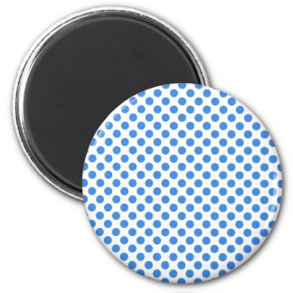 Blue Polka Dots with Customizable Background 2 Inch Round Magnet