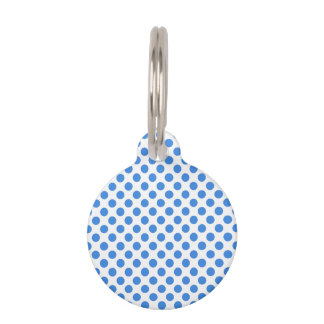 Blue Polka Dots with Customizable Background Pet Name Tags