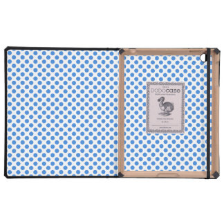 Blue Polka Dots with Customizable Background iPad Cases
