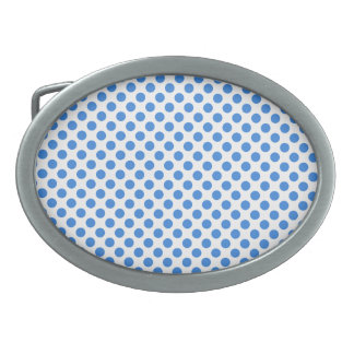 Blue Polka Dots with Customizable Background Oval Belt Buckle