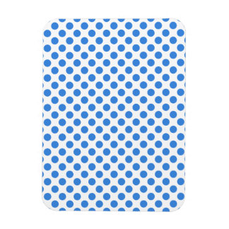 Blue Polka Dots with Customizable Background Rectangular Photo Magnet