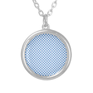 Blue Polka Dots with Customizable Background Silver Plated Necklace