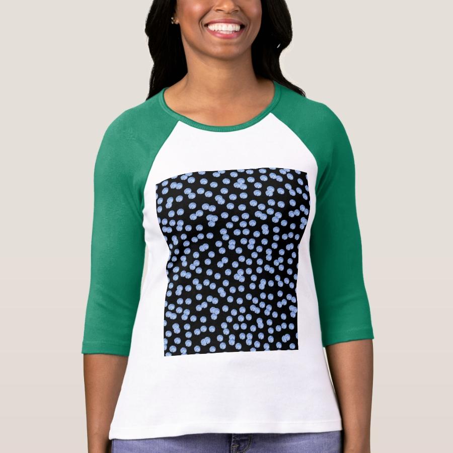 Blue Polka Dots Women's Raglan T-Shirt - Best Selling Long-Sleeve Street Fashion Shirt Designs