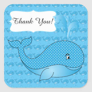 Blue Polka Dotted Baby Whale | DIY Text Square Sticker