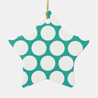 Blue polka doty ceramic ornament