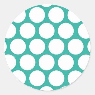 Blue polka doty classic round sticker