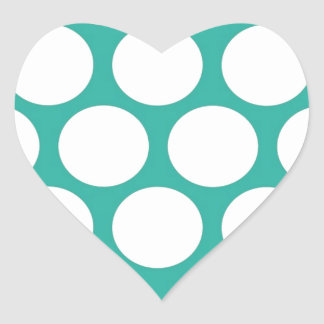Blue polka doty heart sticker