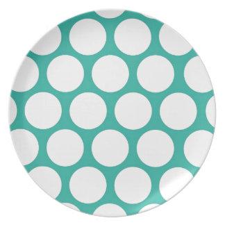 Blue polka doty melamine plate