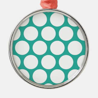 Blue polka doty metal ornament