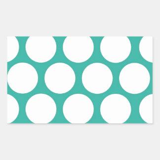 Blue polka doty rectangular sticker