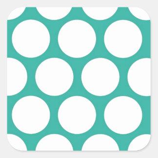 Blue polka doty square sticker