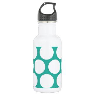 Blue polka doty stainless steel water bottle