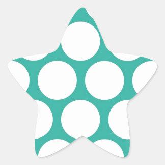 Blue polka doty star sticker