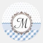 Blue Polkadots, Checks and Stripes with Monogram Classic Round Sticker