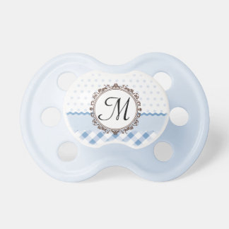 Blue Polkadots, Checks and Stripes with Monogram Pacifier