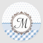 Blue Polkadots, Checks and Stripes with Monogram Classic Round Sticker