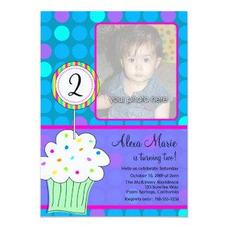 Blue Polkadots Cupcake Birthday 5x7 Paper Invitation Card