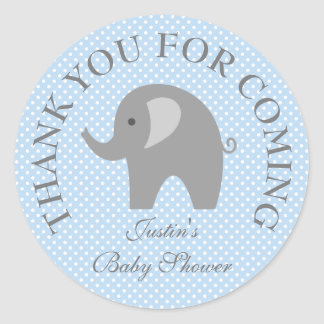 Blue polkadots gray elephant baby shower stickers