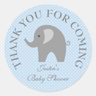 Blue polkadots gray elephant baby shower stickers