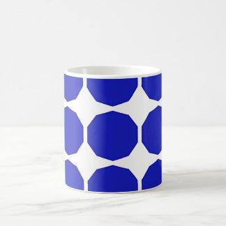 Blue polygon darker blue edged patterned white coffee mug