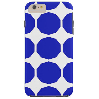 Blue polygon darker blue edged patterned white tough iPhone 6 plus case