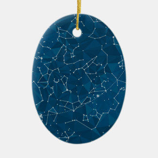 Blue Polygon Night Sky Ceramic Ornament