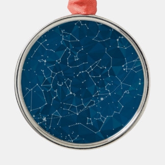 Blue Polygon Night Sky Metal Ornament