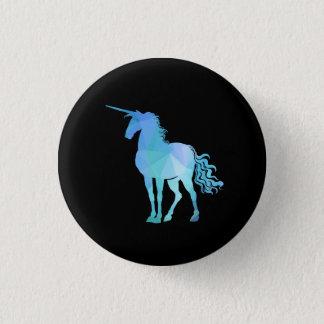 Blue Polygon Unicorn Button
