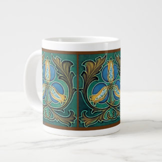 Blue Pomegranate Majolica Art 20 Oz Large Ceramic Coffee Mug